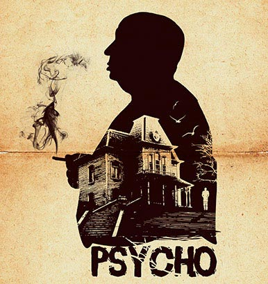 Psycho movie hitchcock silhouette art