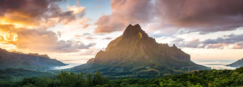 Matteo Colombo - Panoramic sunset over Mt Rotui and Opunohu bay, Moorea, Tahiti, French Polynesia