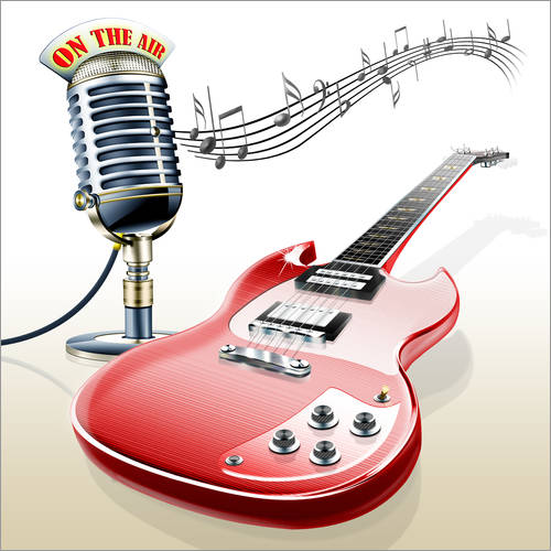 Wall sticker Electric guitar with microphone and music notes