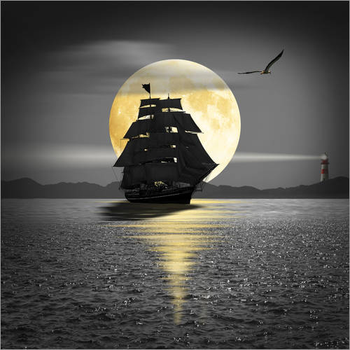 Wall sticker A ship with black sails