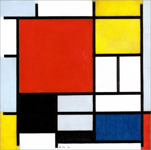 Wall sticker Composition with red, yellow, blue and black