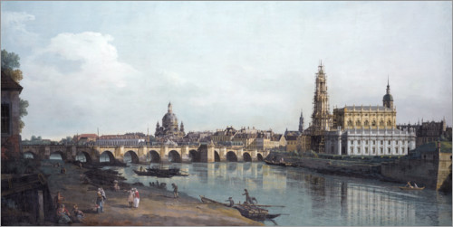 Premium poster Dresden and the Augustusbrücke