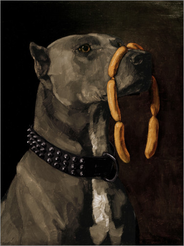 Premium poster Great Dane with sausages