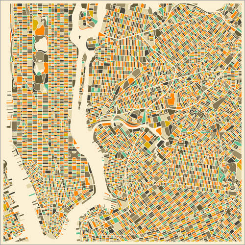 Wall sticker New York map colorful
