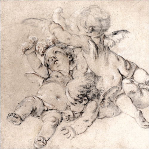 Premium poster Three putti fly with a dove