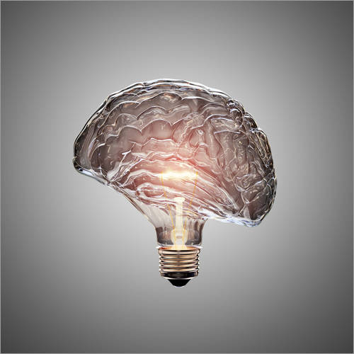 Wall sticker Conceptual light bulb brain illustrated