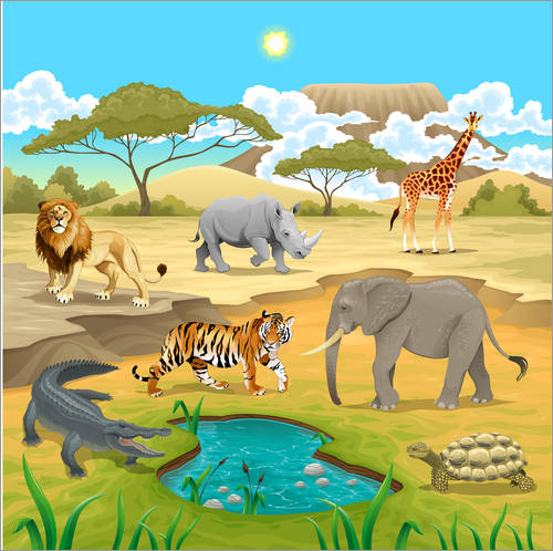 Wall sticker African animals in a savannah