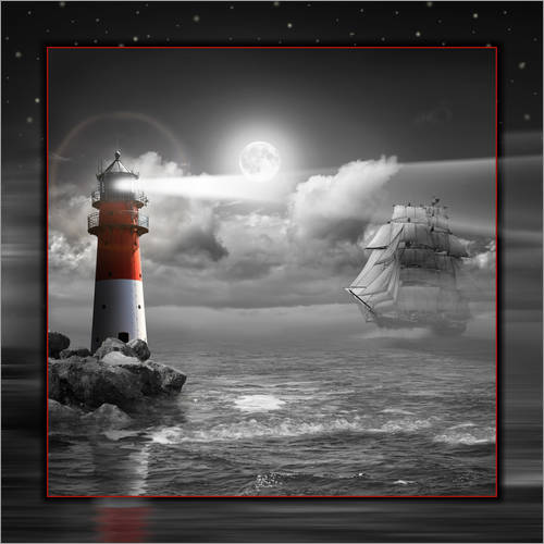 Wall sticker Lighthouse and Sailboat in the Moonlight