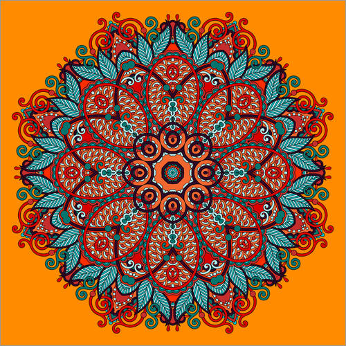 Wall Stickers Mandala Orange II