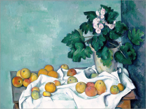 Premium poster Still Life with Apples and a Pot of Primroses