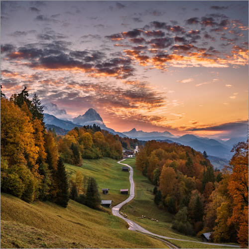 Wall sticker Sunset over the Zugspitze Mountain, Bavaria, Germany