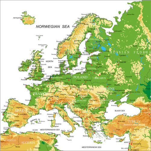Wall sticker Europe - Topographic Map