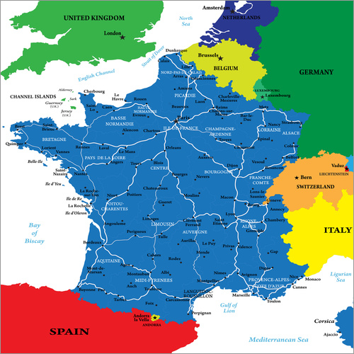 Map Of Uk France.Wall Sticker France Political Map