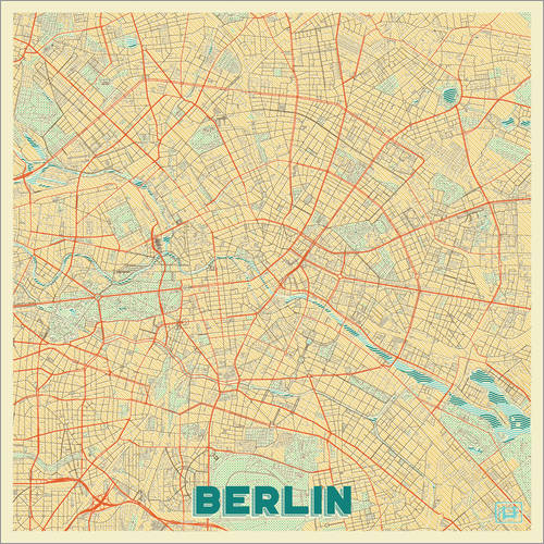 Wall sticker Berlin Map Retro