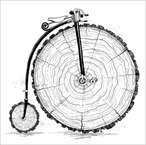 Wall sticker Wooden bicycle