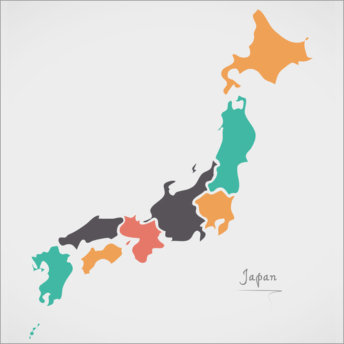 Wall sticker Japan map modern abstract with round shapes