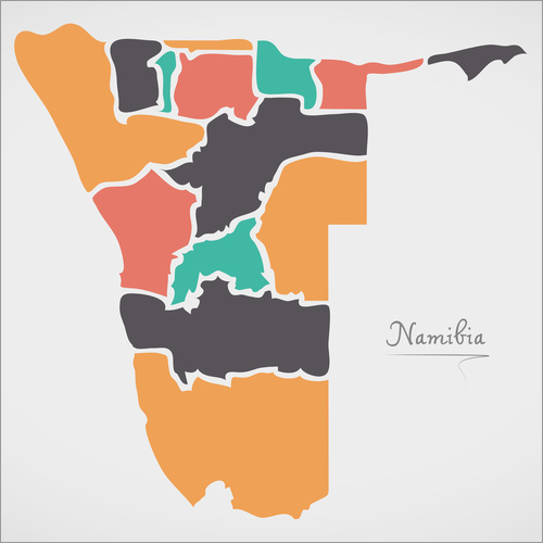 Wall sticker Namibia map modern abstract with round shapes