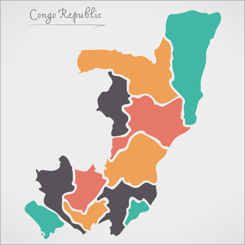 Wall sticker Republic of the Congo map modern abstract with round shapes