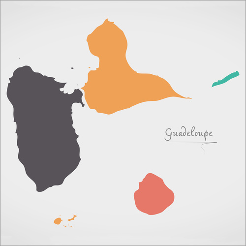 Wall sticker Guadeloupe map modern abstract with round shapes