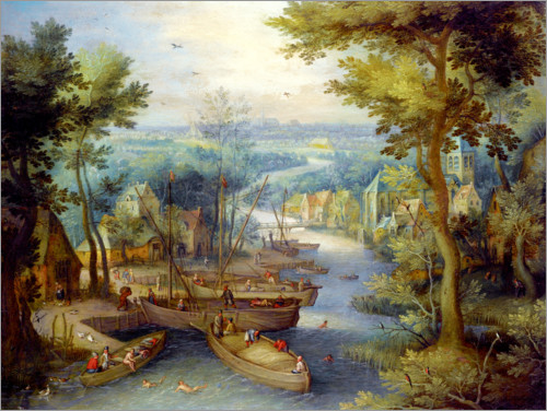 Premium poster River landscape with bathing and boats