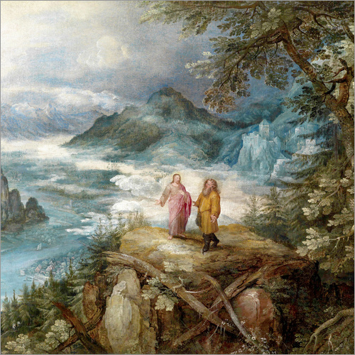 Wall sticker Wide mountain landscape with the temptation of Christ