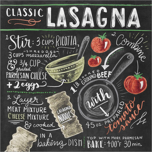 Wall sticker Classic Lasagna recipe