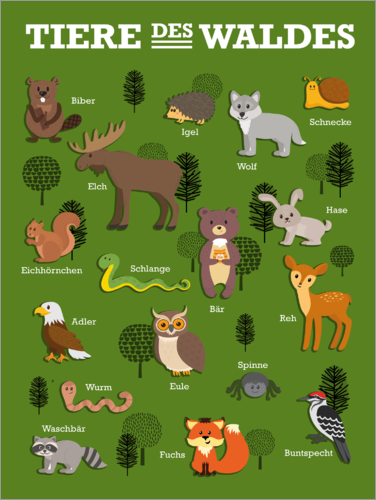 Premium poster The animals of the forest (German)