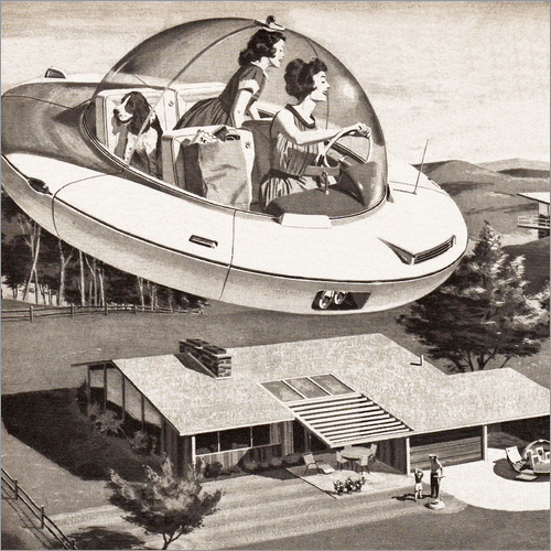Wall sticker Woman Driving Flying Saucer