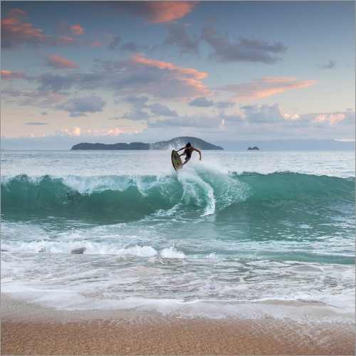 Wall sticker Surfing at sunset in paradise