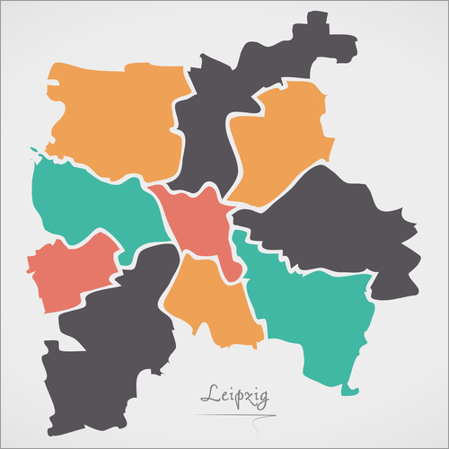Wall sticker Leipzig city map modern abstract with round shapes