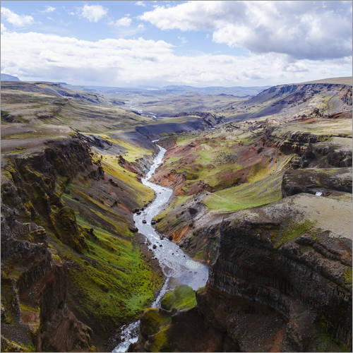 Wall sticker Aerial view of river and canyon, Iceland