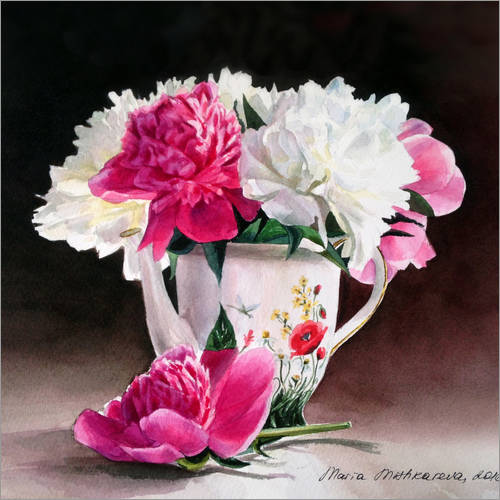 Wall sticker Porcelain and peonies watercolor illustration