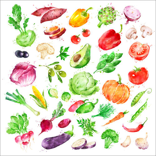 Wall sticker Fruits and vegetables watercolor