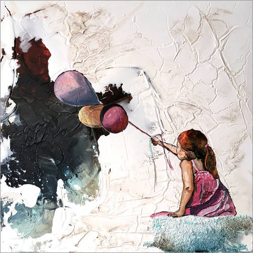 Wall sticker Girl with balloons