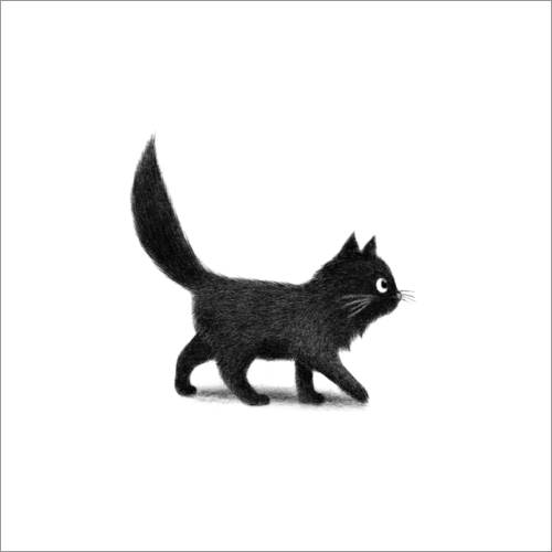 Wall sticker Little black cat