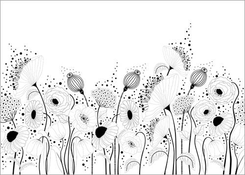 Colouring poster In the poppy field