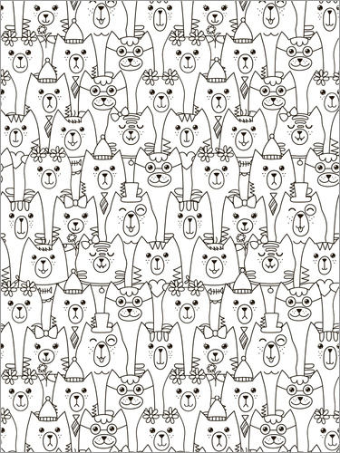 Colouring poster Cat Army