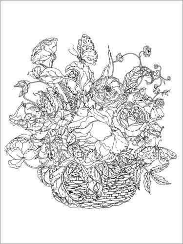 Colouring poster Flower basket