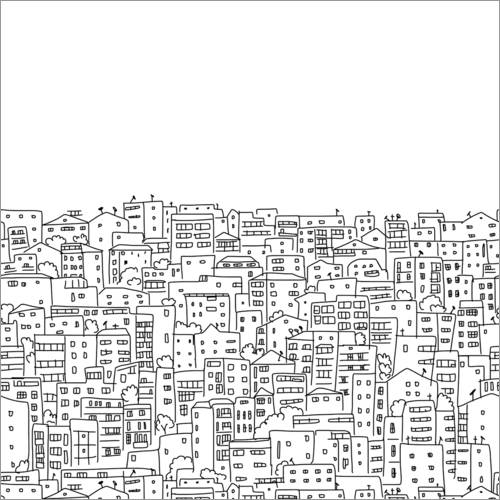 Colouring poster City silhouette