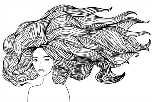 Colouring poster Flowing hair
