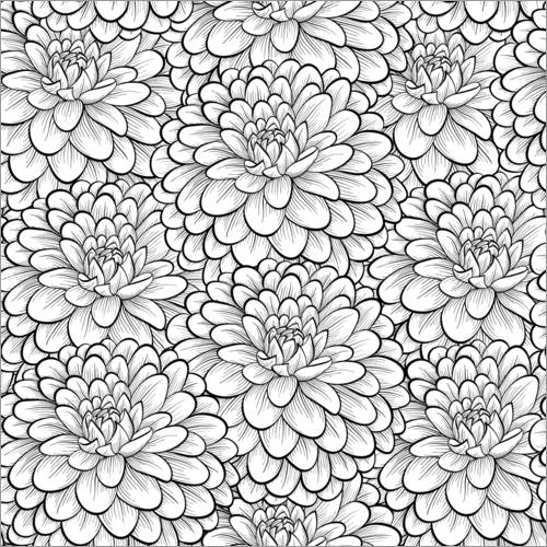 Colouring poster Flowers allover
