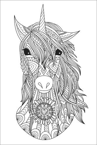 Colouring posters Beautiful unicorn
