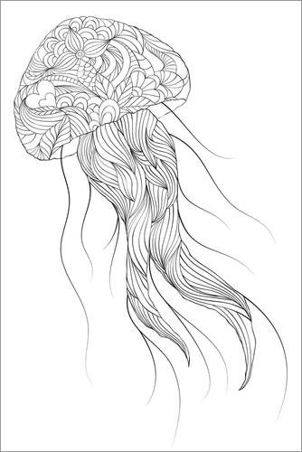 Colouring poster Patterned jellyfish
