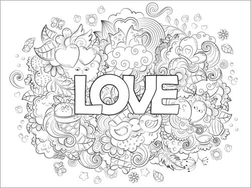 Colouring posters In love