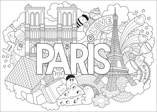 Colouring poster Paris