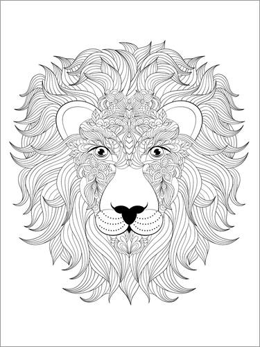 Colouring poster Lion's head