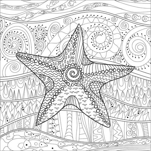 Colouring poster Starfish