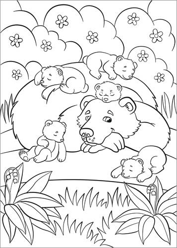 Colouring poster Happy bear mother