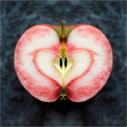 Wall sticker Symmetrical apple with red heart