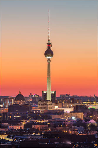 Premium poster Berlin TV tower after sunset